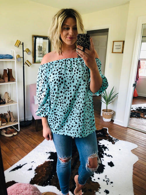 Best Days Off Shoulder Blouse with Black Spotting- Mint