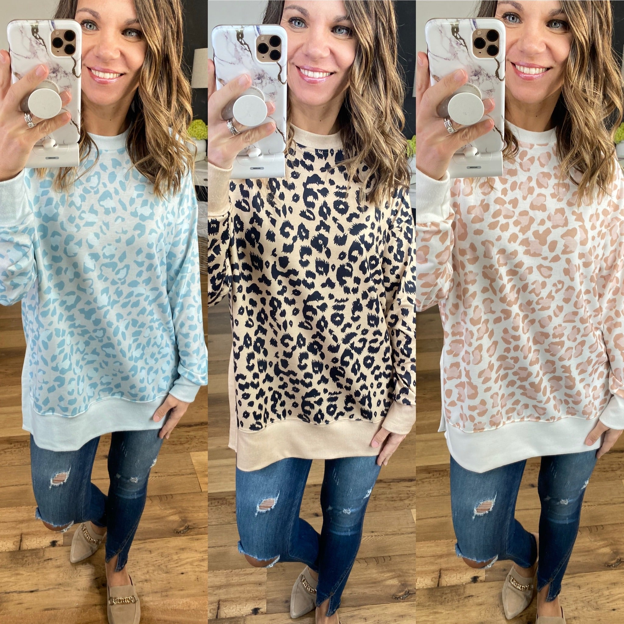 Making Changes Cheetah Print Long Sleeve with Side Slits- Multiple Options