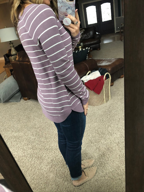 Right This Minute Striped Long Sleeve Sweater- Lilac and Ivory