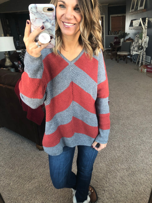 All Is Found Rust/Grey Stripe V-Neck Sweater