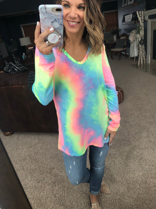 To Dye For Tie-Dye V-Neck Long Sleeve- Pastel Mix