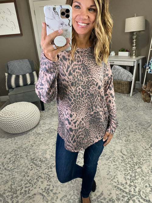 Every Little Bit Blush Long Sleeve with Charcoal Cheetah Print and Criss Cross Back Detail