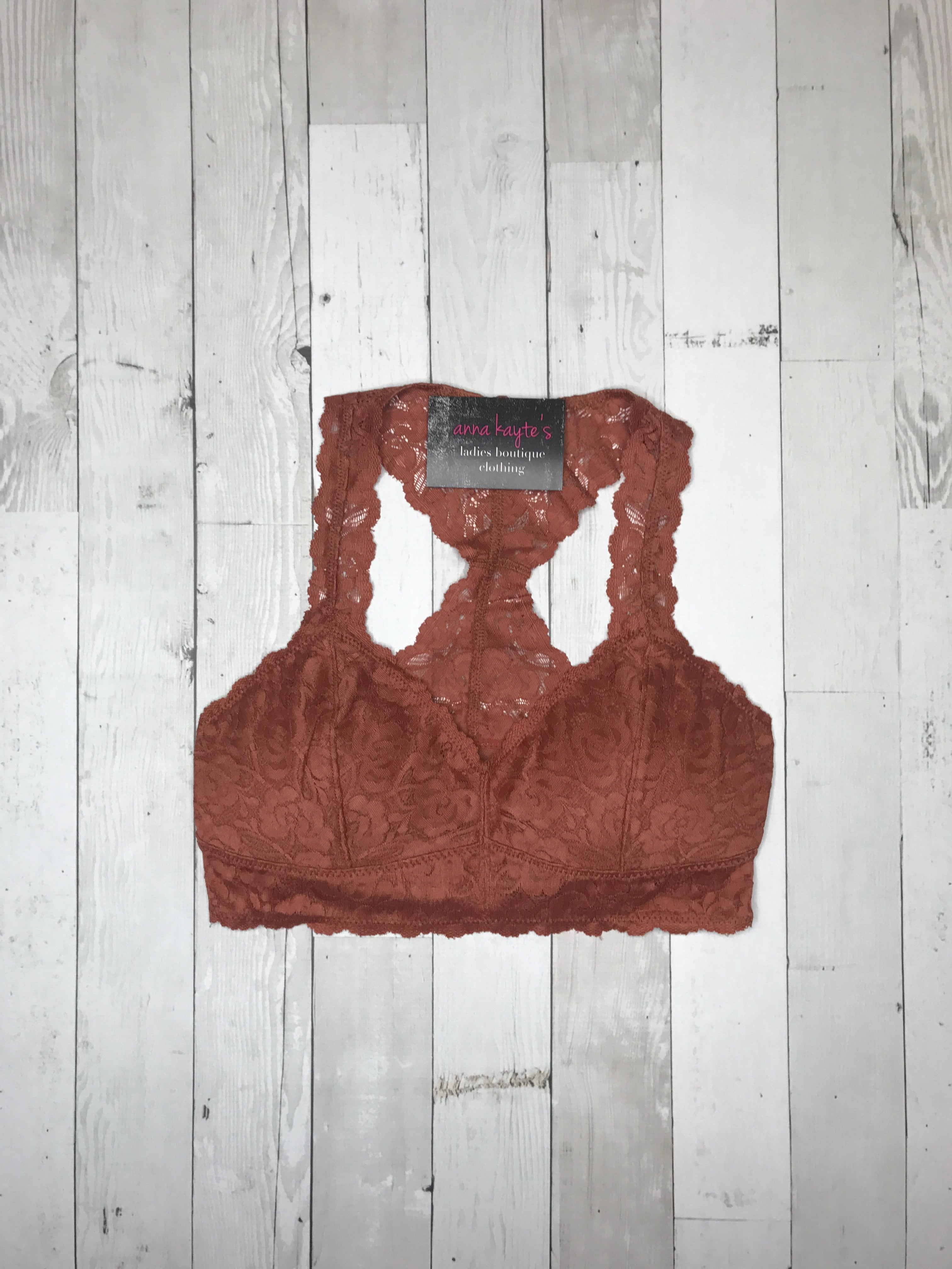 Padded Lace Bralette - Rust