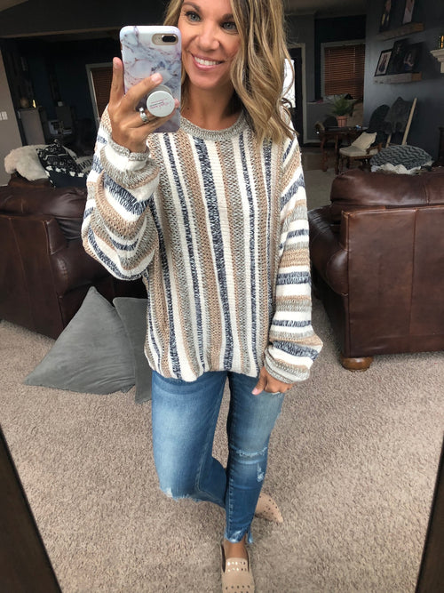 Soul Searching Tan and Rose Gold Mixed Stripe Knit Sweater
