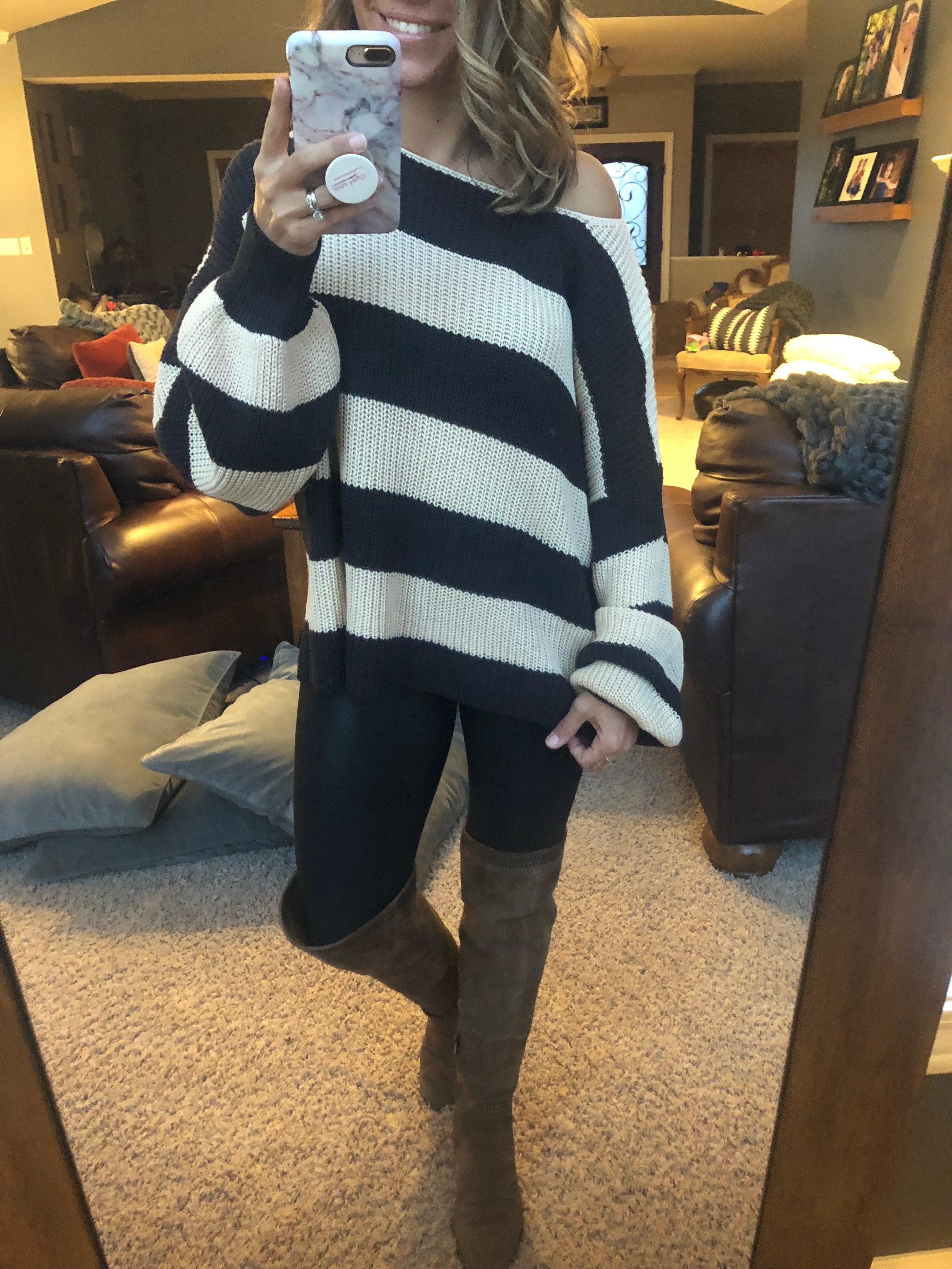 The Idea Of Her Charcoal and Cream Stripe Sweater