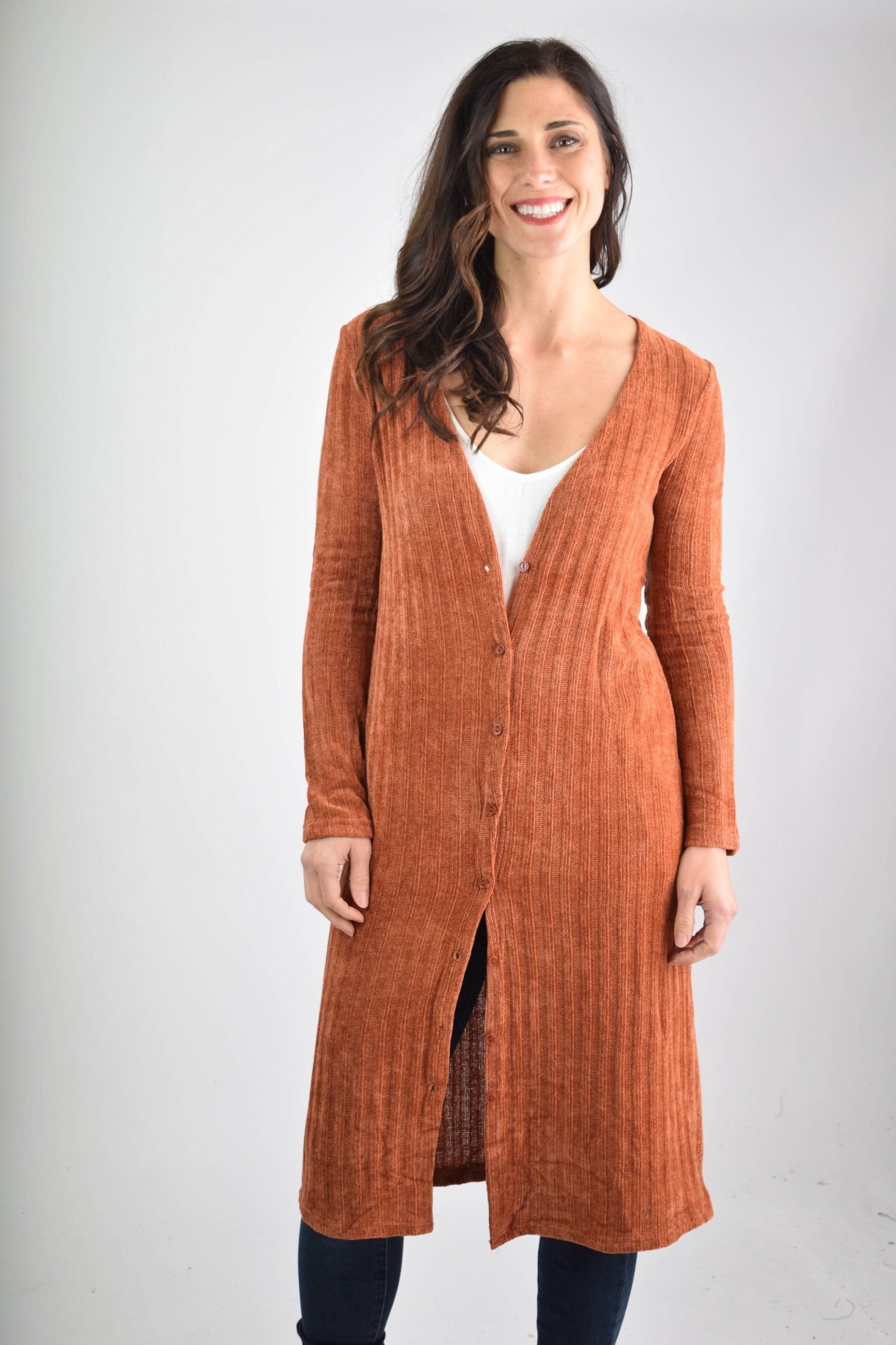 Movers and Shakers Rust Chenille Button Down Duster