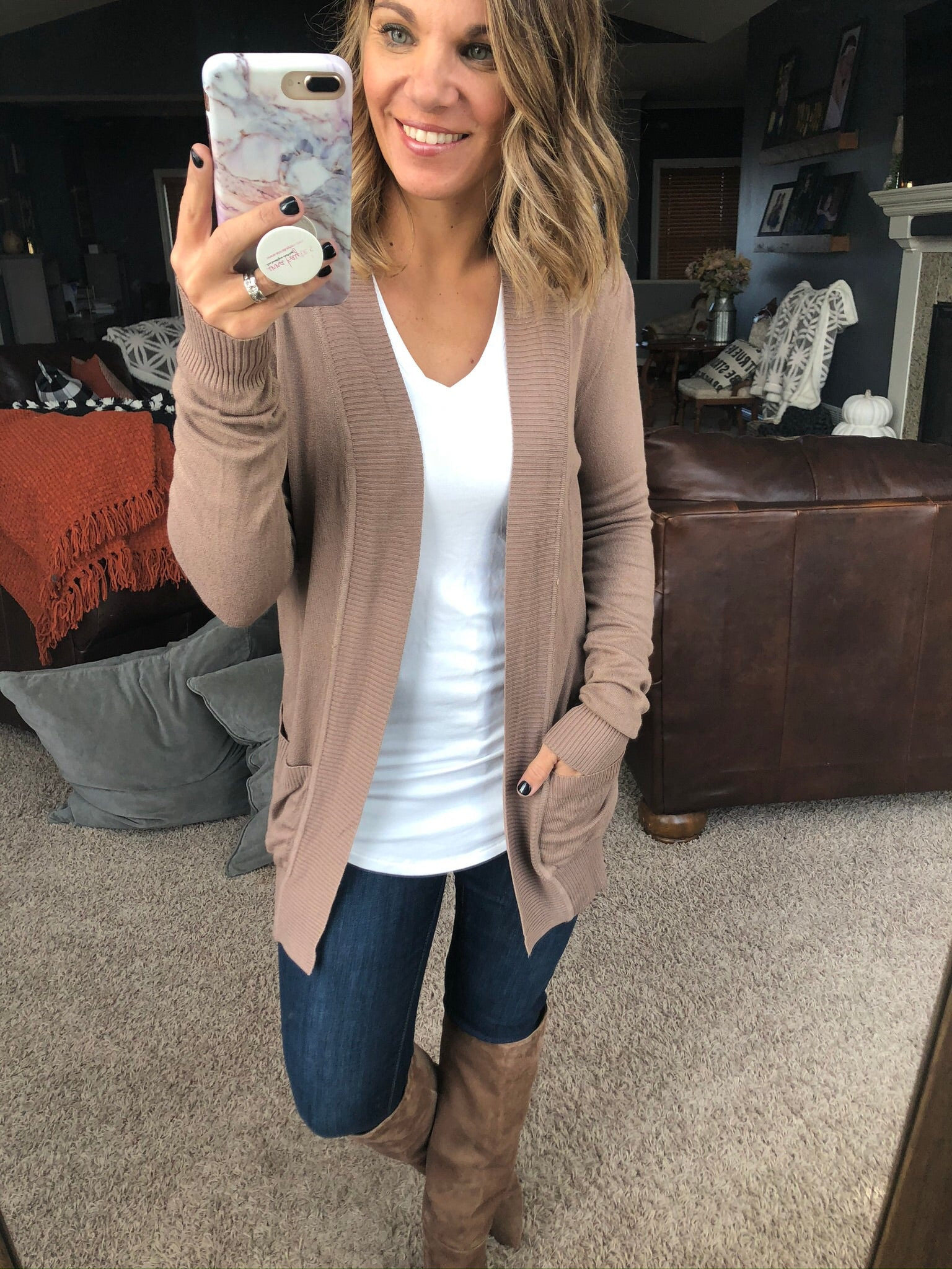 Anything For Love Mocha Open Front Cardigan with Pockets