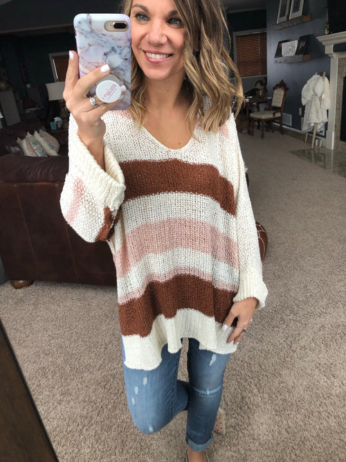 Spring Kisses Striped Knit Top - Pink/Brown/Ivory