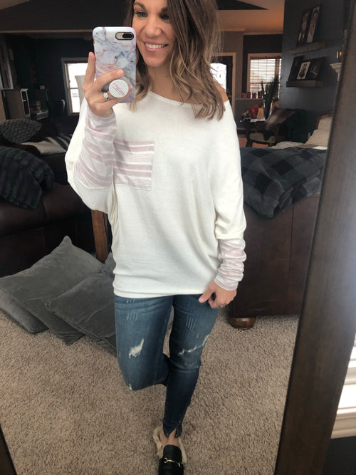 Love Coaster Ivory and Light Mauve Dolman Long Sleeve