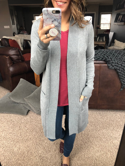 Weekend Traveler Midi Basic Cardigan - Grey
