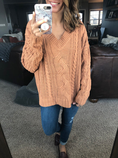 Starting From The Beginning Cable Sweater - Rust