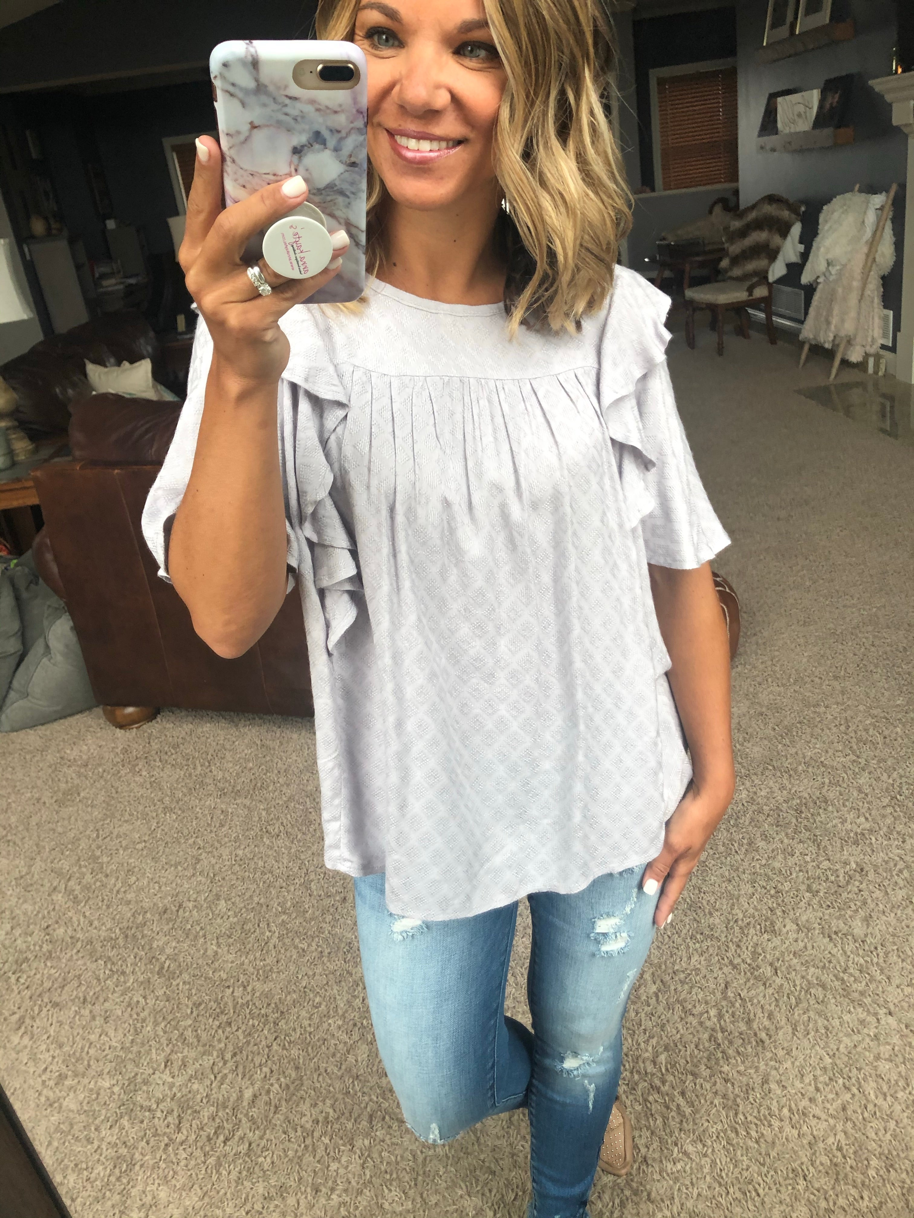 Never Been Better Silver Patterned Tee with Pleating and Ruffle Sleeve