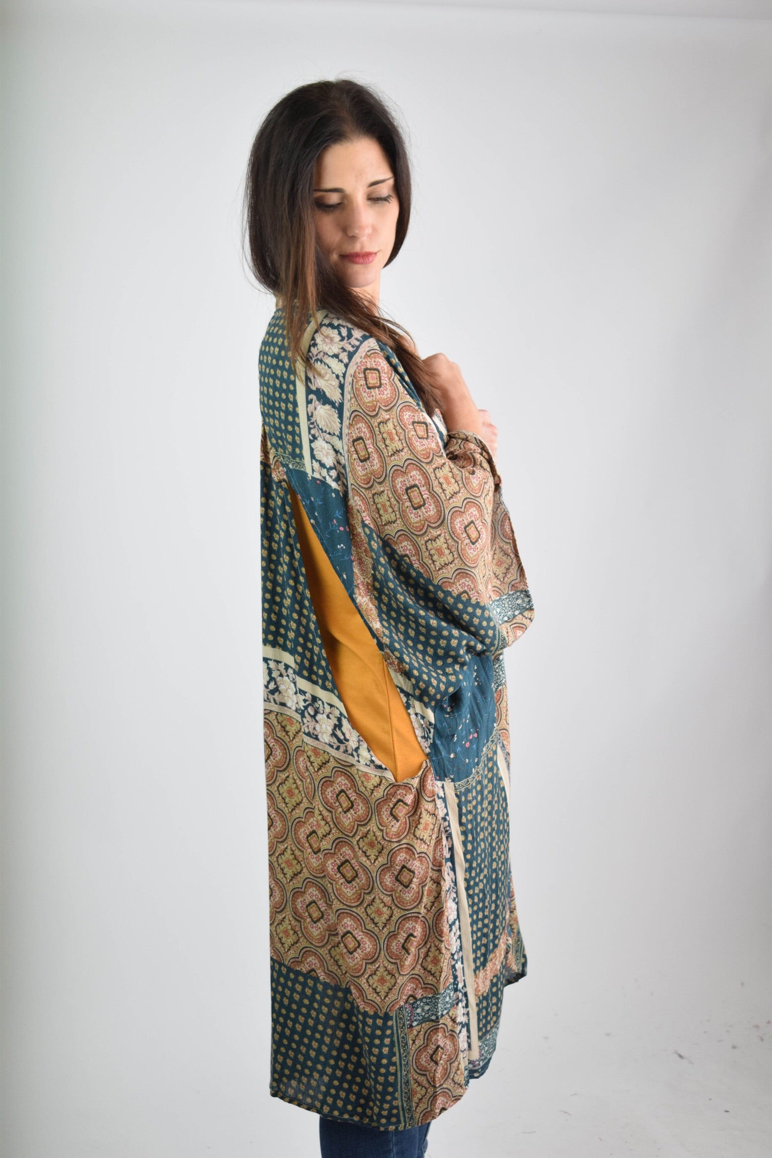 A World Away Teal Printed Kimono