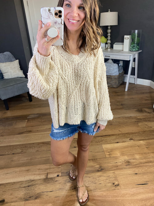 New Reservations Taupe Knit V Neck Sweater
