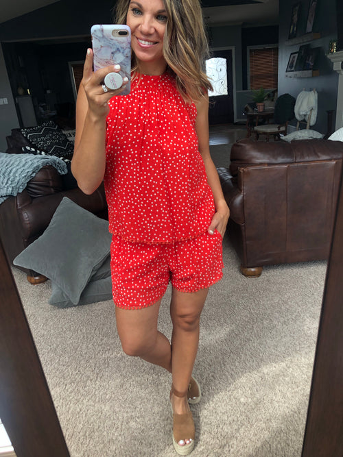 Summer Sweetheart Polka Dot Tank and Short Set - Red Sale