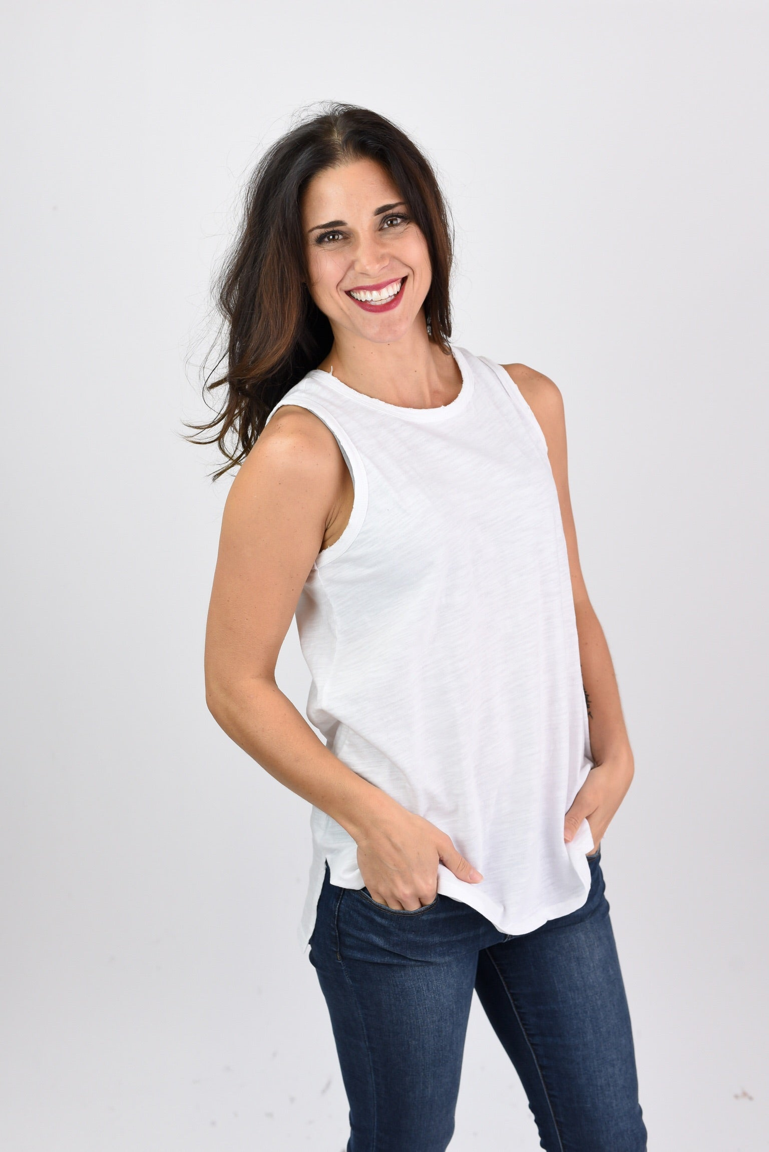When It All Goes Right Distressed White Tank