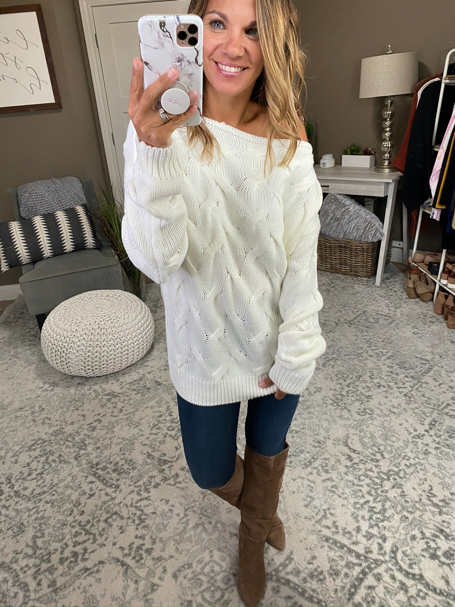 Started With A Whisper Ivory Boatneck Textured Sweater