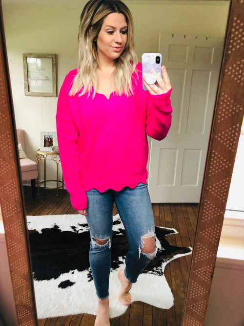 Dreams & Desires Scalloped Sweater- Hot Pink