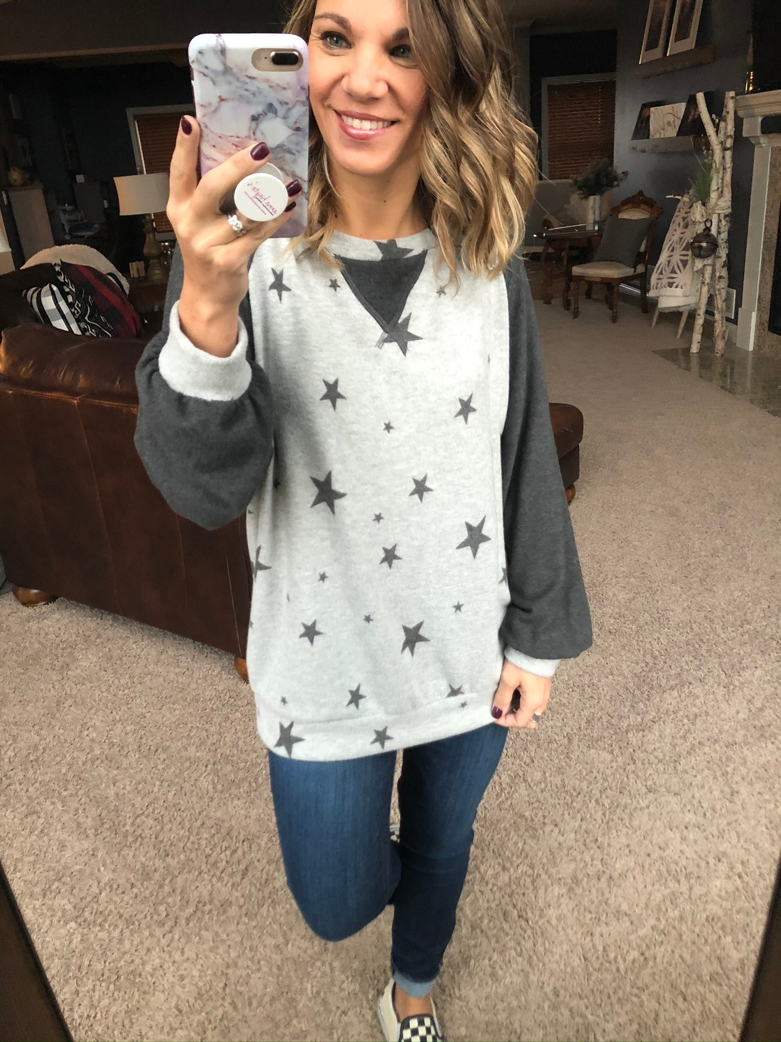 Lost In Stars Oh So Cozy Brushed Fleece - Grey & Black