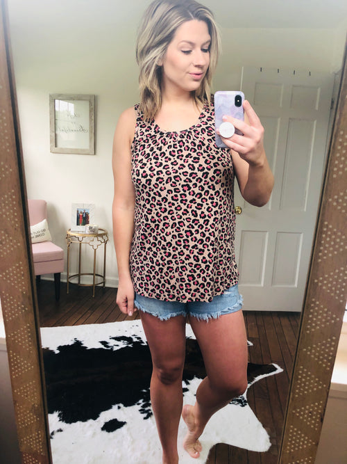 Already Ready Pink Leopard Print w/Pink Zipper Tank