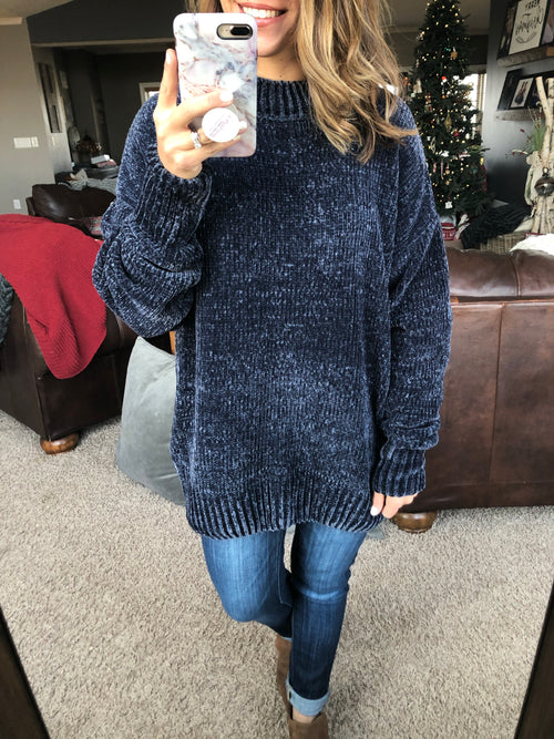 Lighted Path Dark Blue Chenille Sweater