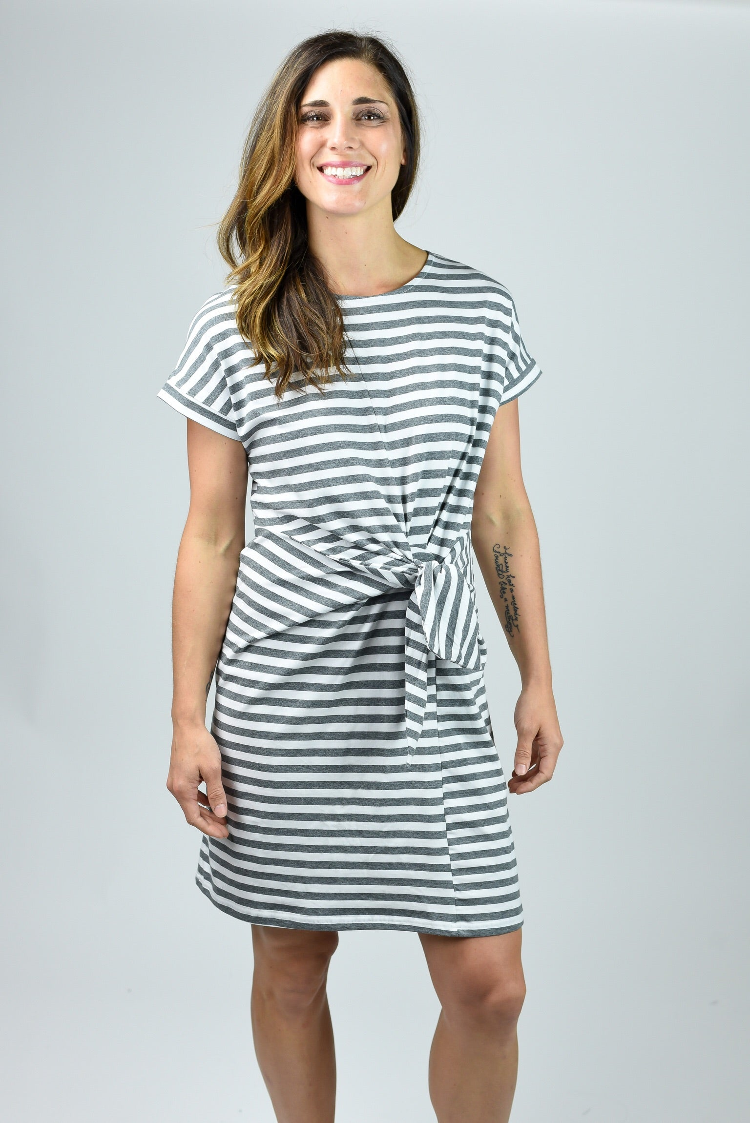 Positive Vibes Tie Dress- Grey and White