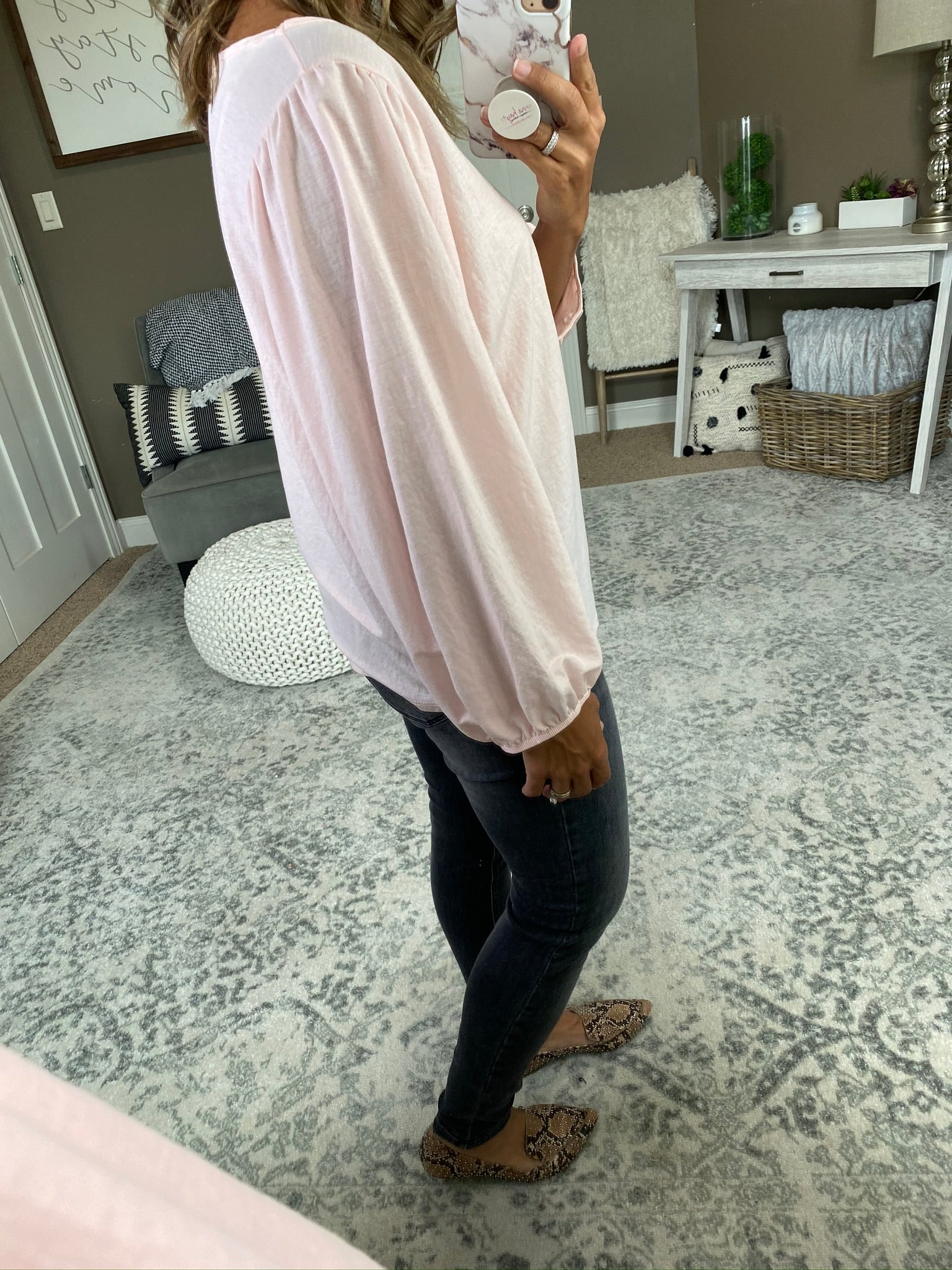 Pretty In Pink Balloon Sleeve Blouse- Pink