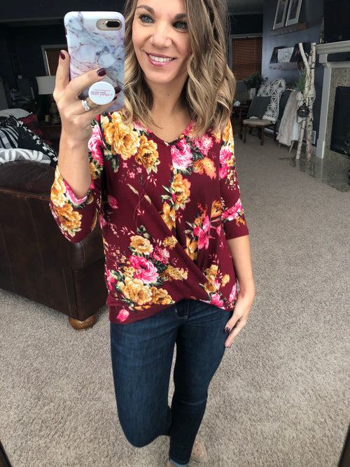 Hurricane In My Heart Burgundy Floral 3/4 Sleeve Blouse with Front Twist