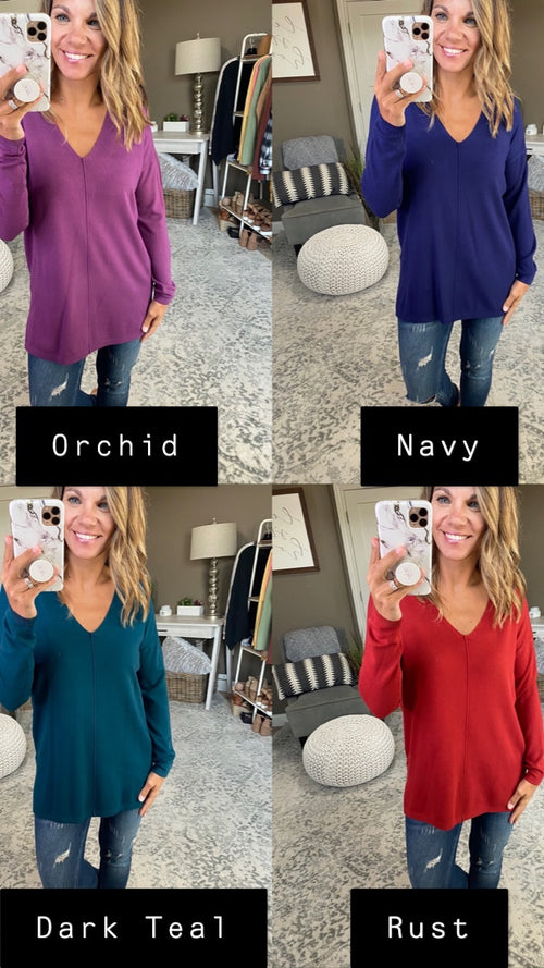 Small Town Girl V Neck Exposed Seam Sweater- Multiple Options