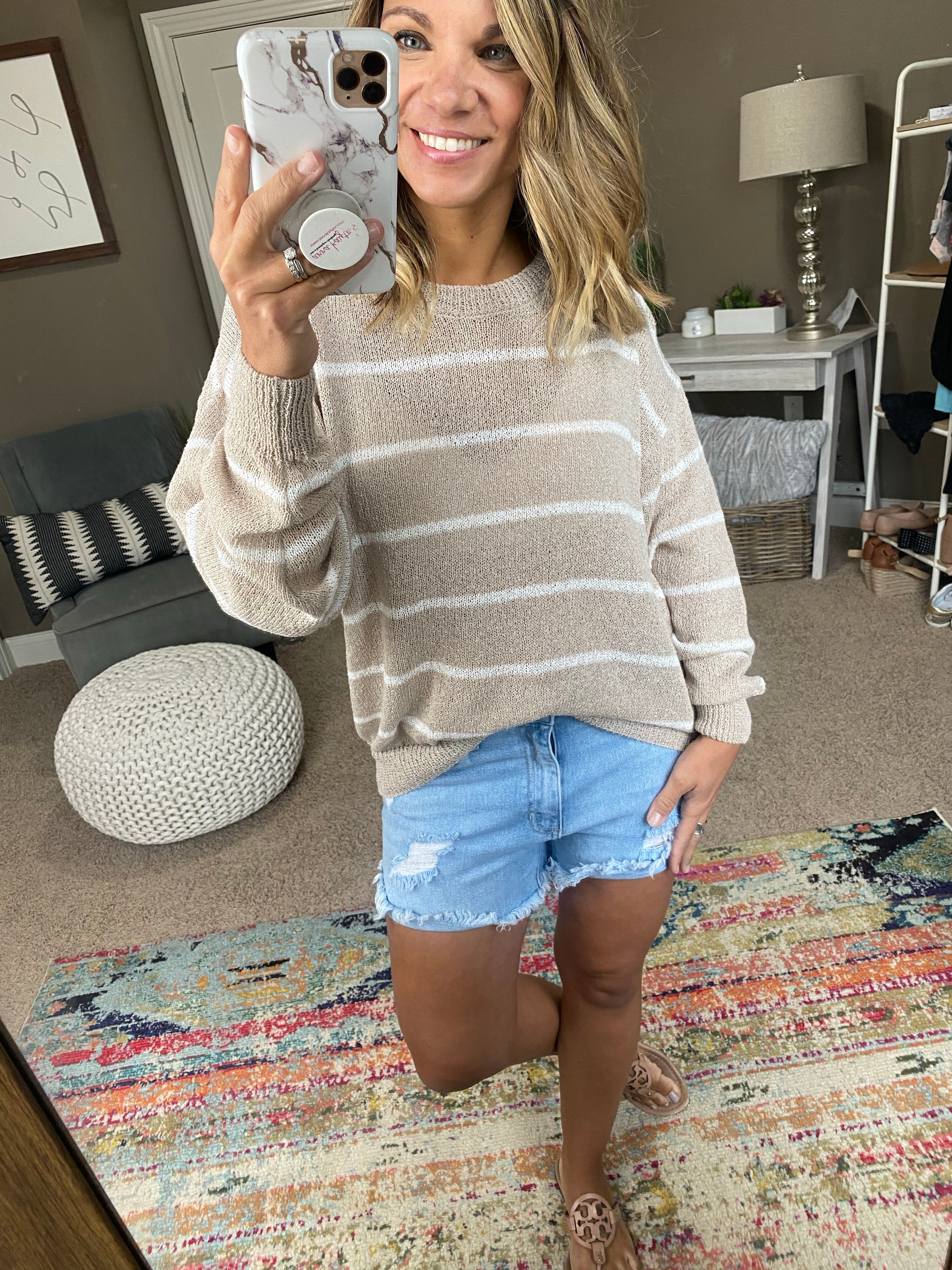 See Her Soul Taupe and Ivory Striped Knit Sweater
