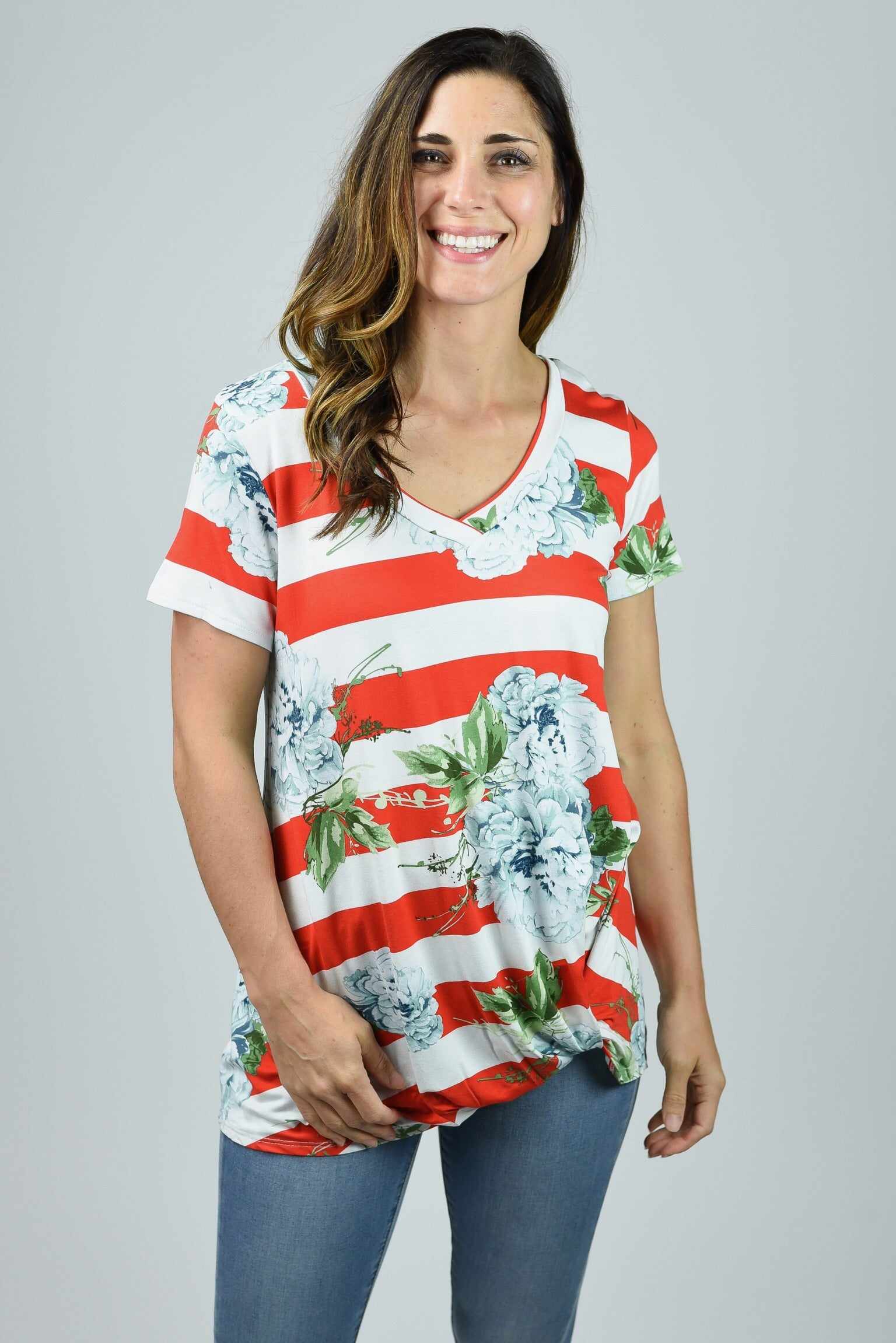 Naturally Charming Floral & Stripe Top
