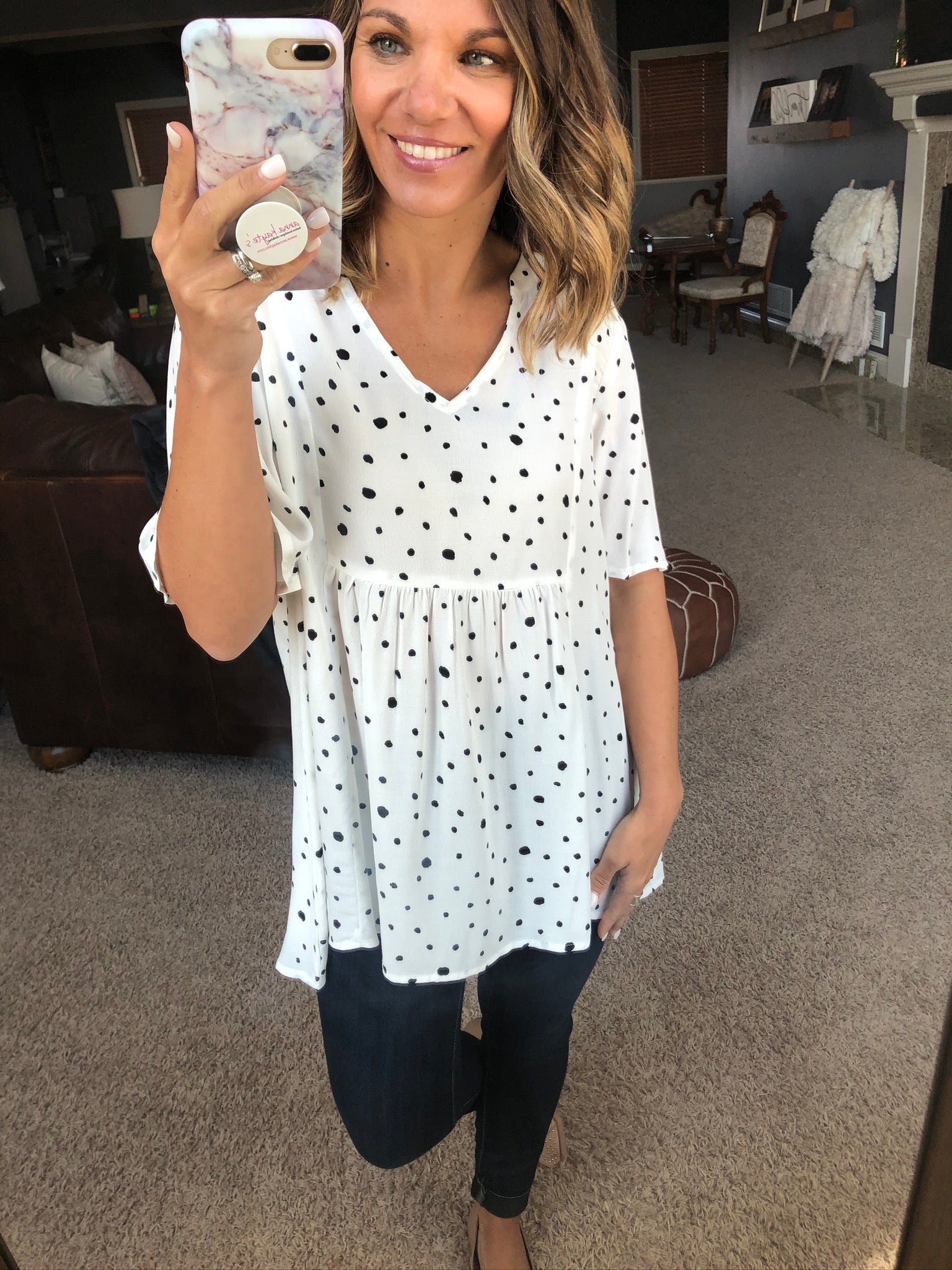 To The Point White Tee with Black Dotted Details