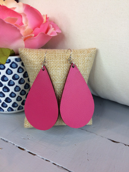 Come Around Tear Drop Faux Leather Earrings- Berry