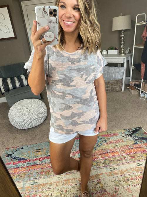 Standing There Pale Pink Camo Knit Tee