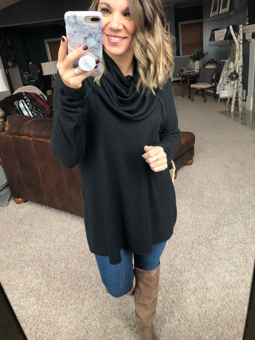 Adore You Black Cowl Neck w/ Raw Edges Long Sleeve Sweater