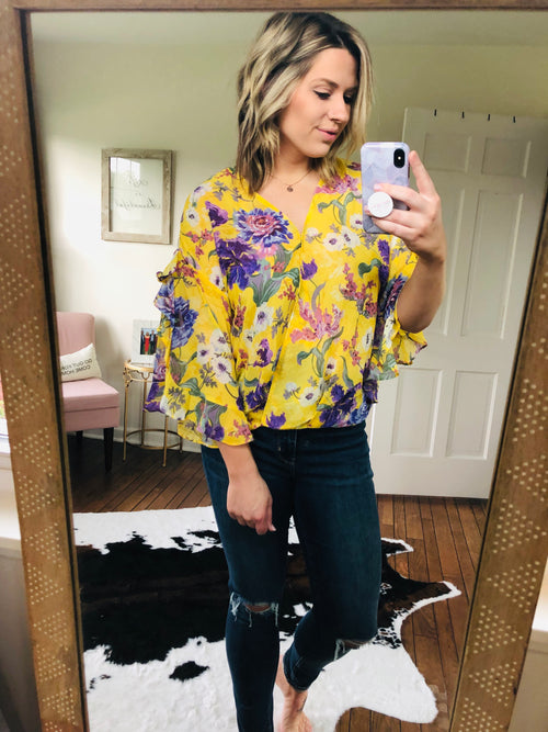 Someday Soon Sheer Yellow Floral Ruffle Sleeve Blouse