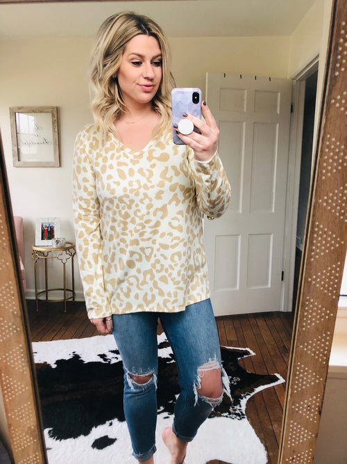 Stay A Little Longer Ivory and Taupe Leopard Print Super Soft Lightweight Sweater