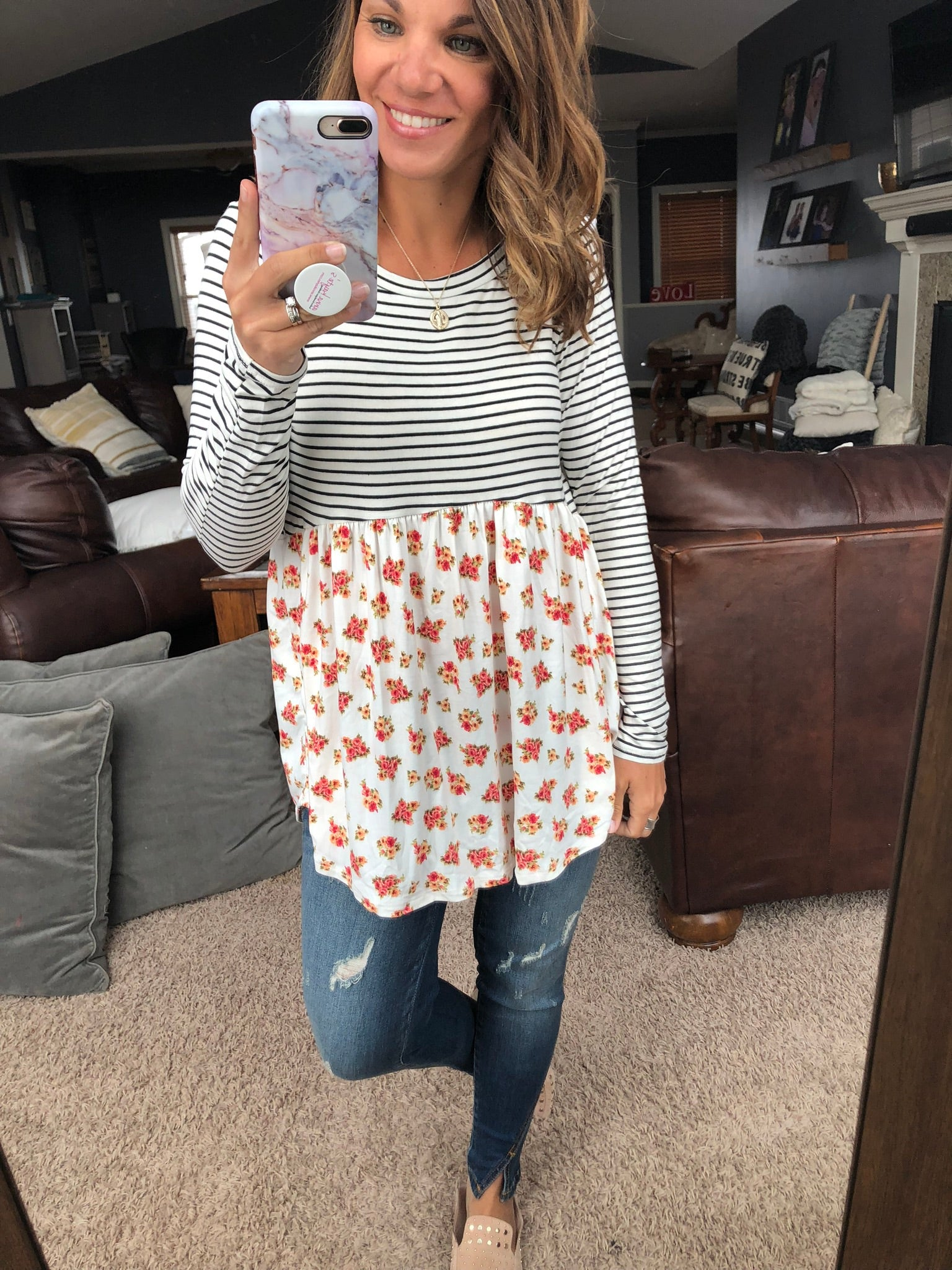Before You Know It Stripe and Floral Baby Doll Top