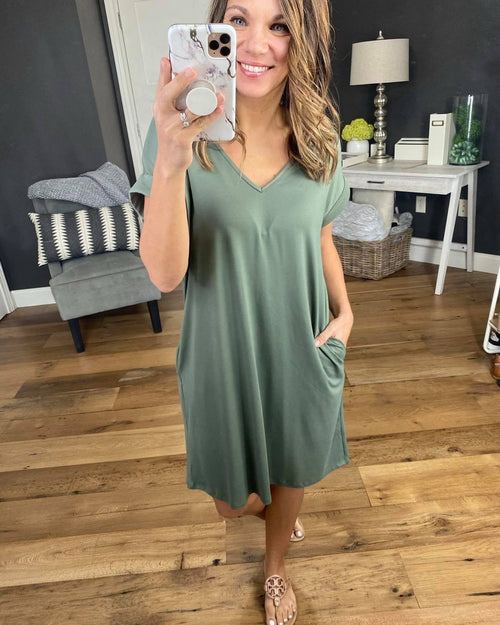 So Close V-Neck Tee Dress with Cuffed Sleeve- Multiple Options