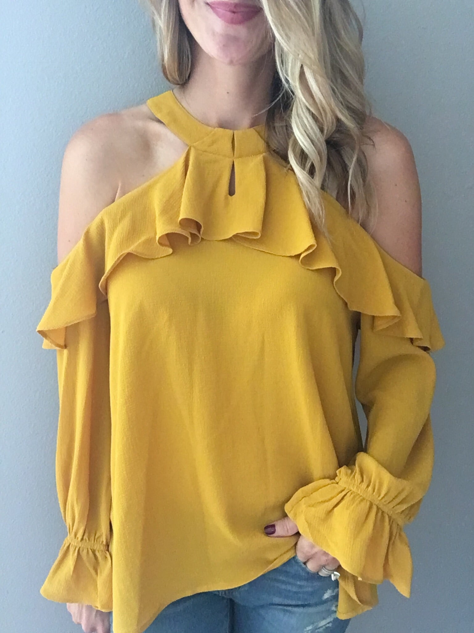 She's So Lucky Mustard Cold Shoulder Top