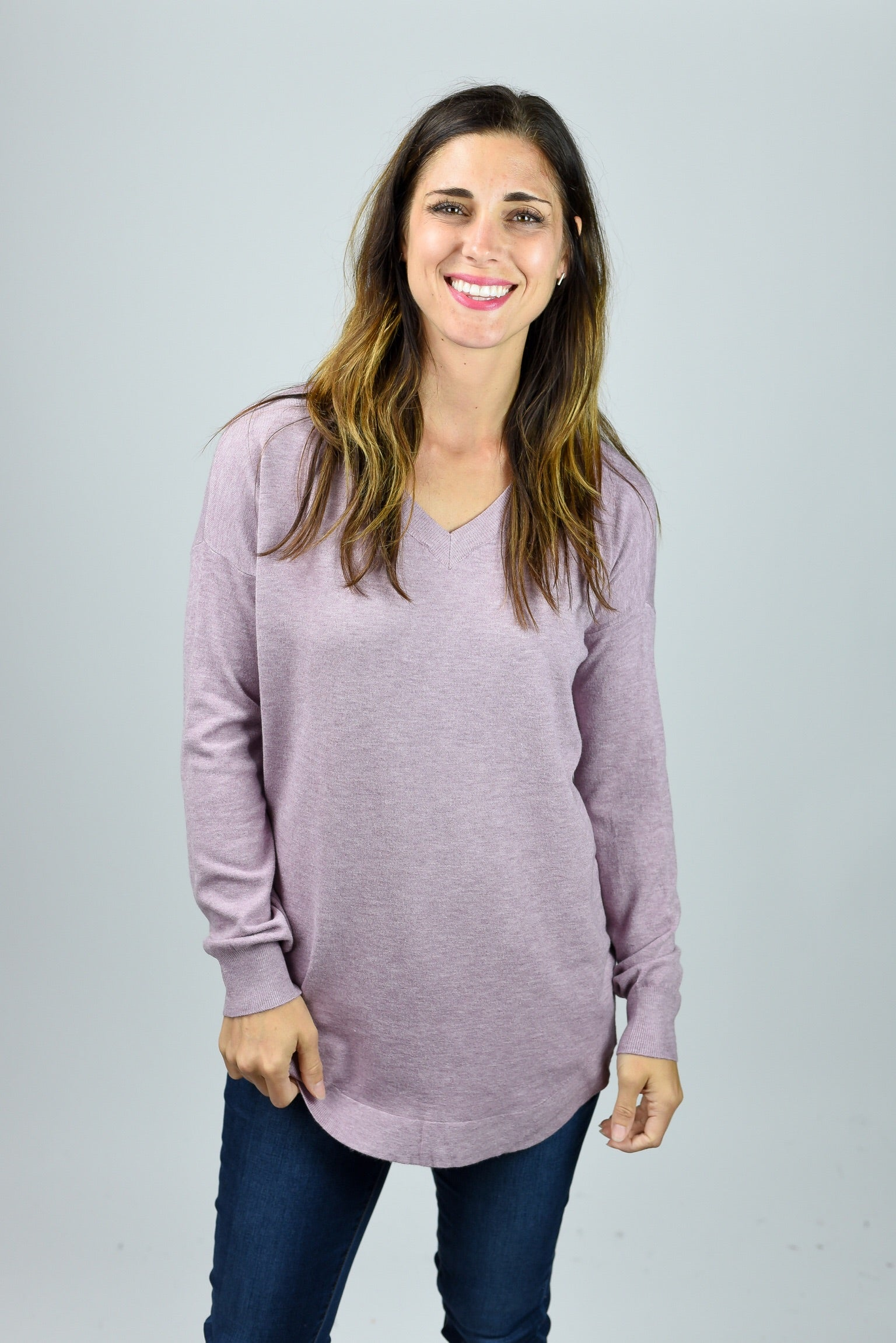 Only The Best Vneck Sweater- Lavendar
