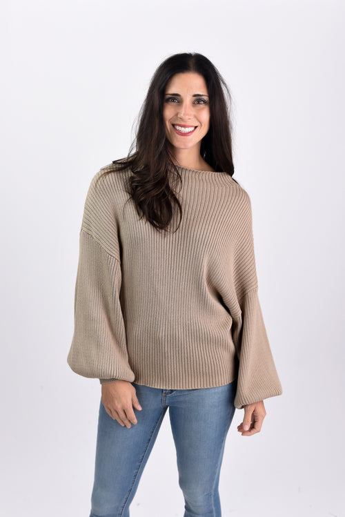 This Could Be Love Taupe Ribbed Sweater