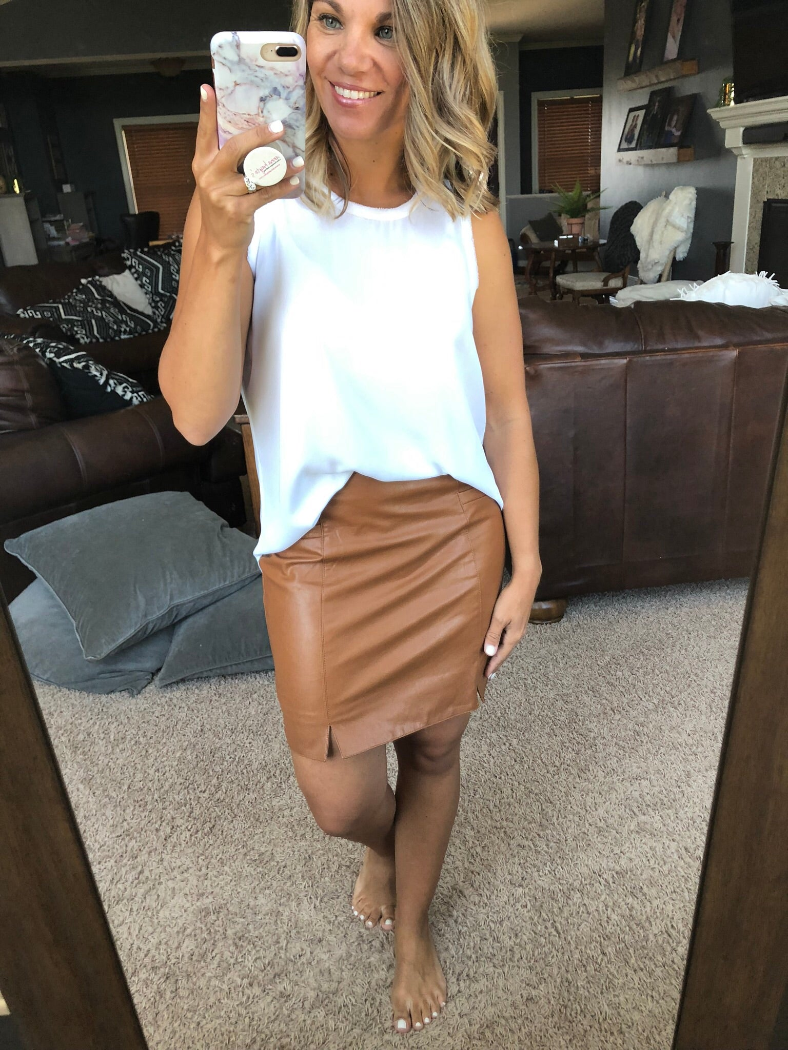 What A Girl Needs Camel Vegan Leather Skirt