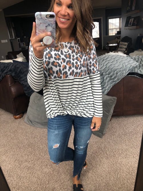 Wild Wishes Leopard Color Block Stripes Long Sleeve Top