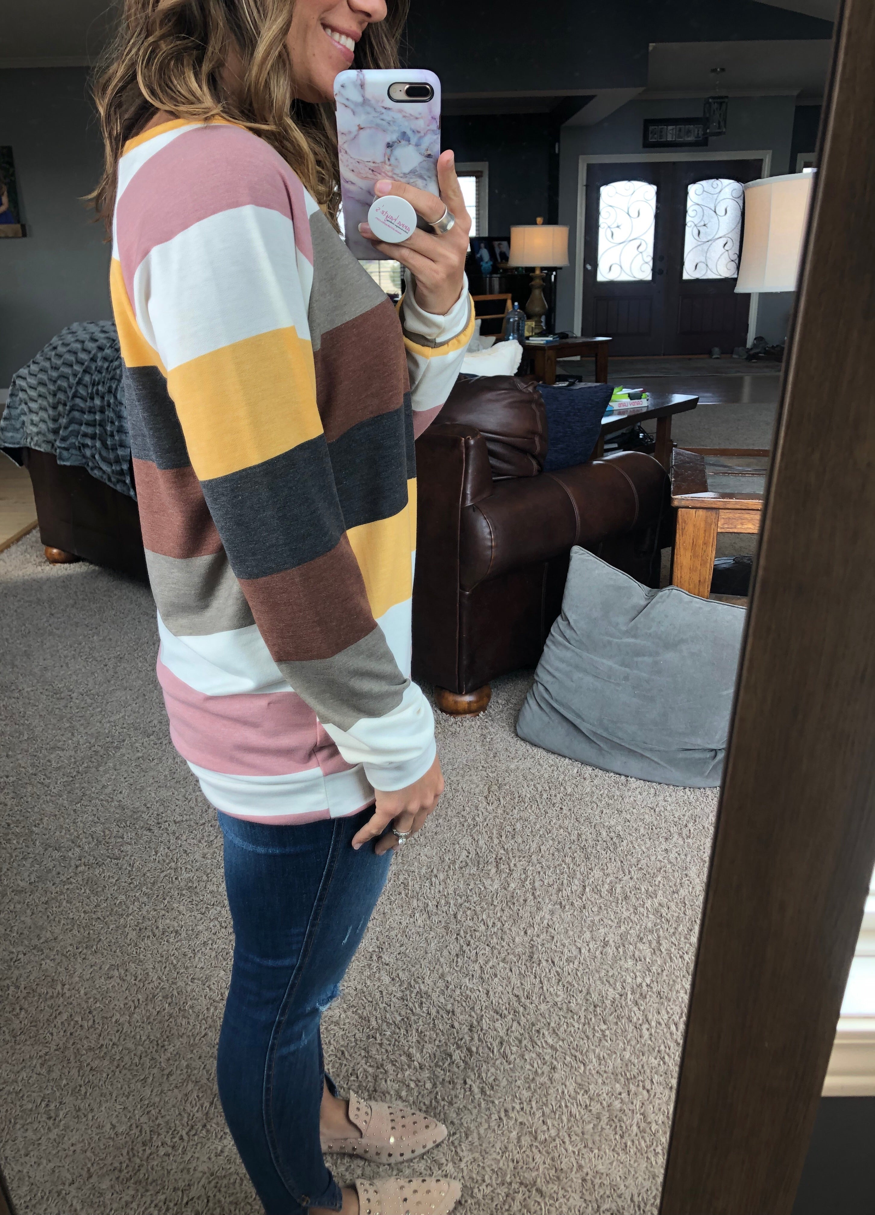 It's A New Day Striped Multi Color Banded Long Sleeve
