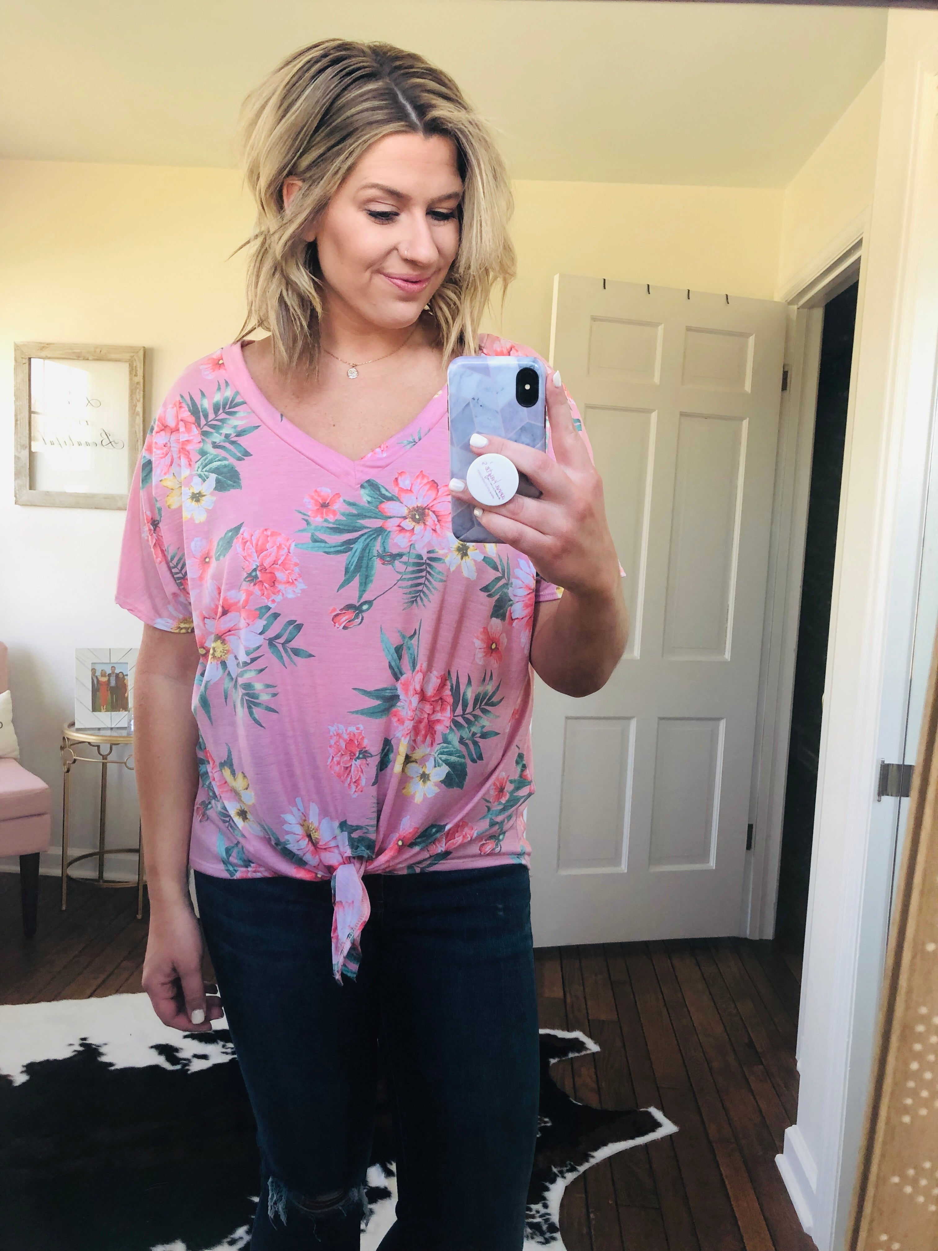 Spring to Life Pink Floral Front Tie Tee