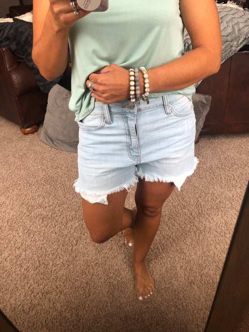 Always So Sweet Light Denim Non Distressed Shorts