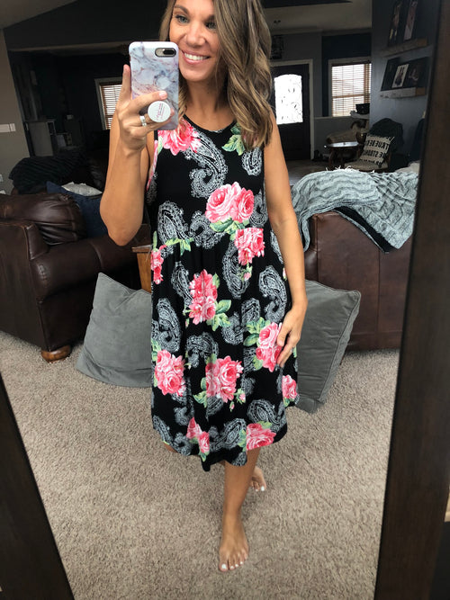 Finding Romance Floral Tank Dress - Black