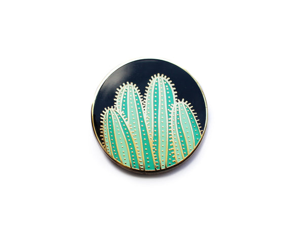 Black and Gold Cactus Enamel Pin