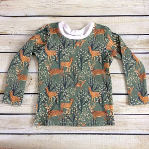 Deer Family Organic Knit Shirt - Little Green Bird